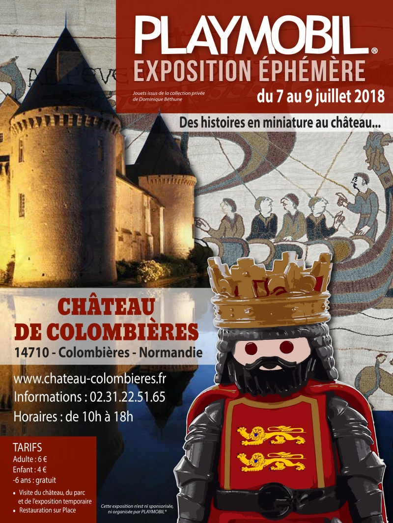 Affiche exposition playmobil chateau de colombieres