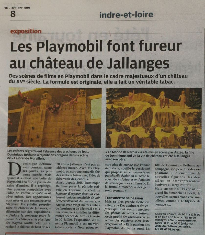 Article presse nouvelle republique playmobil jallanges dominique bethune
