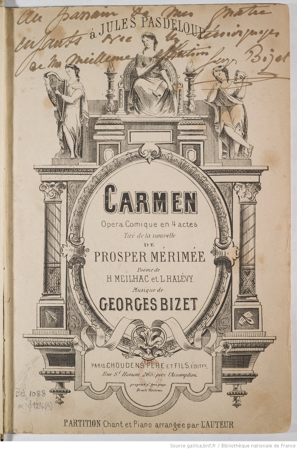 Carmen partition chant et bizet georges