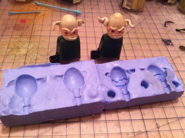 Empreintes de moule en silicone pour tetes de gobelin en playmobil