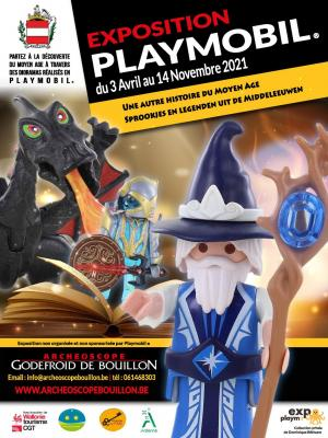 Affiche exposition playmobil bouillon 2021 dominique bethune