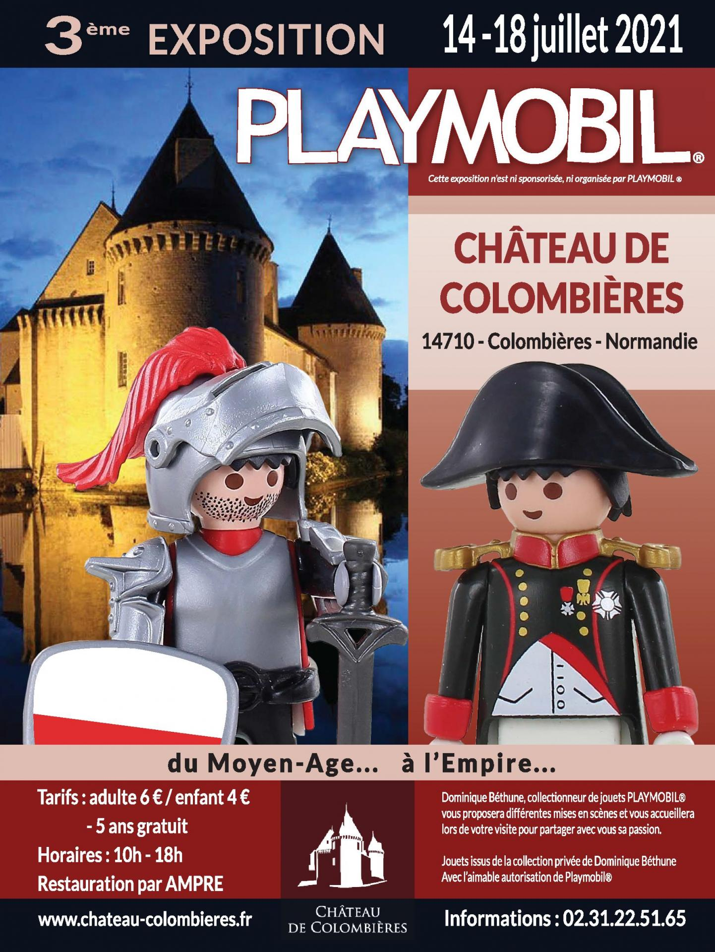 Affiche exposition playmobil chateau de colombieres 2021