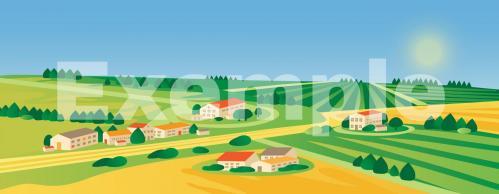 Fond diorama playmobil village campagne